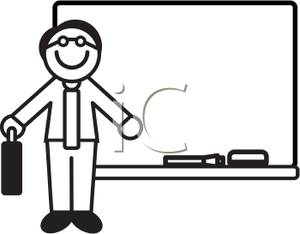 Black And White Cartoon Of A Teacher At A Whiteboard   Royalty Free