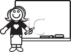 Black And White Cartoon Teacher At A Whiteboard Royalty Free Clipart