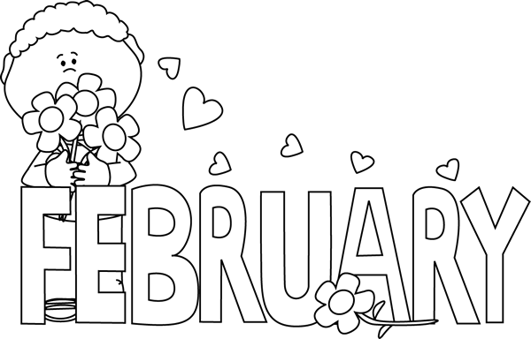 Black And White February Valentine S Day Clip Art   Black And White