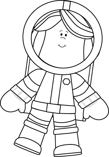 Black And White Little Girl Astronaut Clip Art Image   Black And White