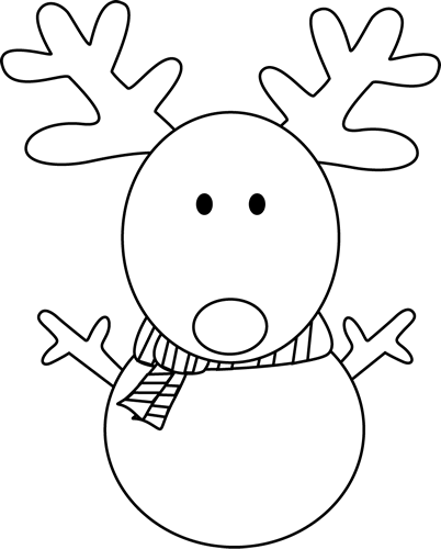 Black And White Reindeer Snowman Clip Art   Black And White Reindeer