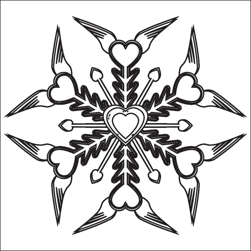Black And White Snowflake Clipart Snowflake Black White Line