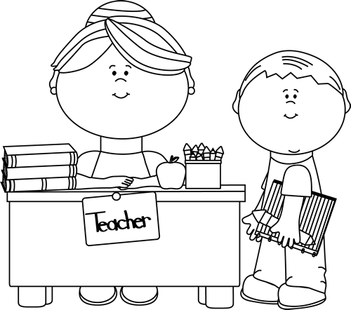 Black And White Teacher And Student Clip Art   Black And White Teacher