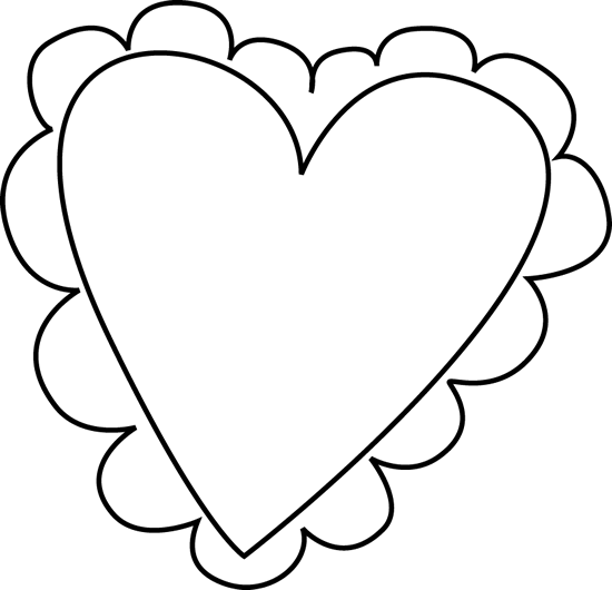 Black And White Valentine S Day Heart Clip Art   Black And White