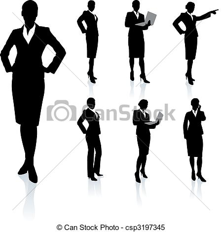 Businesswoman Silhouette Collection Original Vector Illustration