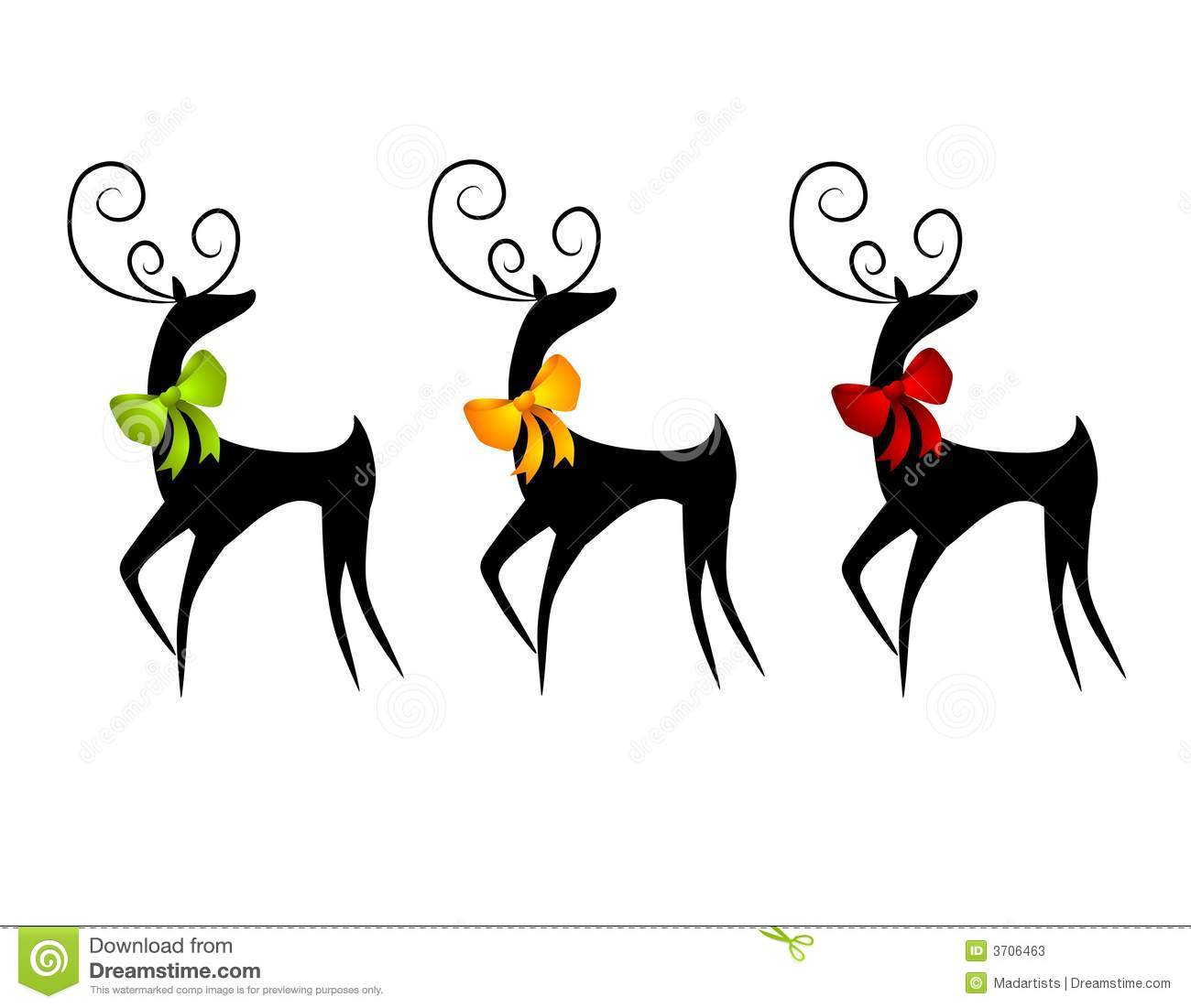 Clip Art Illustration Of Three Deer Or Reindeer In Black Silhouette