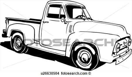 Clipart Of Illustration Lineart Classic 1953 Ford Pickup Truck