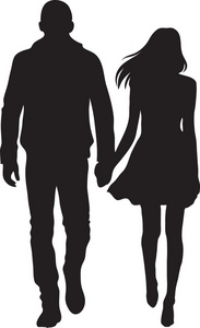 Couple Clipart Image   Silhouette Of A Couple A Boy And Girl Holding