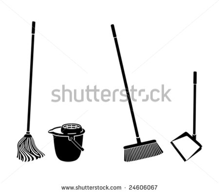Floor Cleaning Objects Black And White Silhouettes Stock Vector
