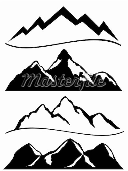 Mountains Clipart Black And White Mountain