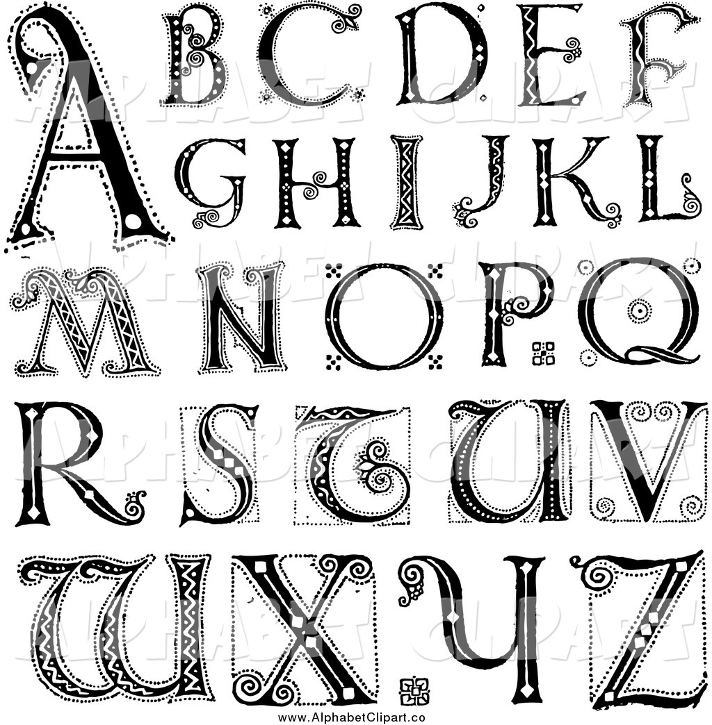 Of Black And White Capital Vintage Alphabet Letters By Bestvector