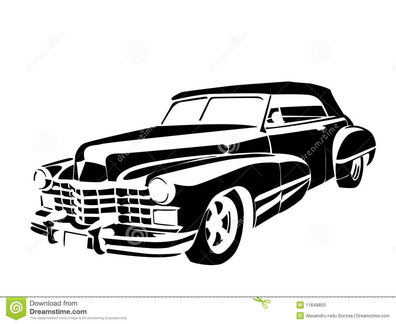 old classic vintage car drown in black on white antique classic black
