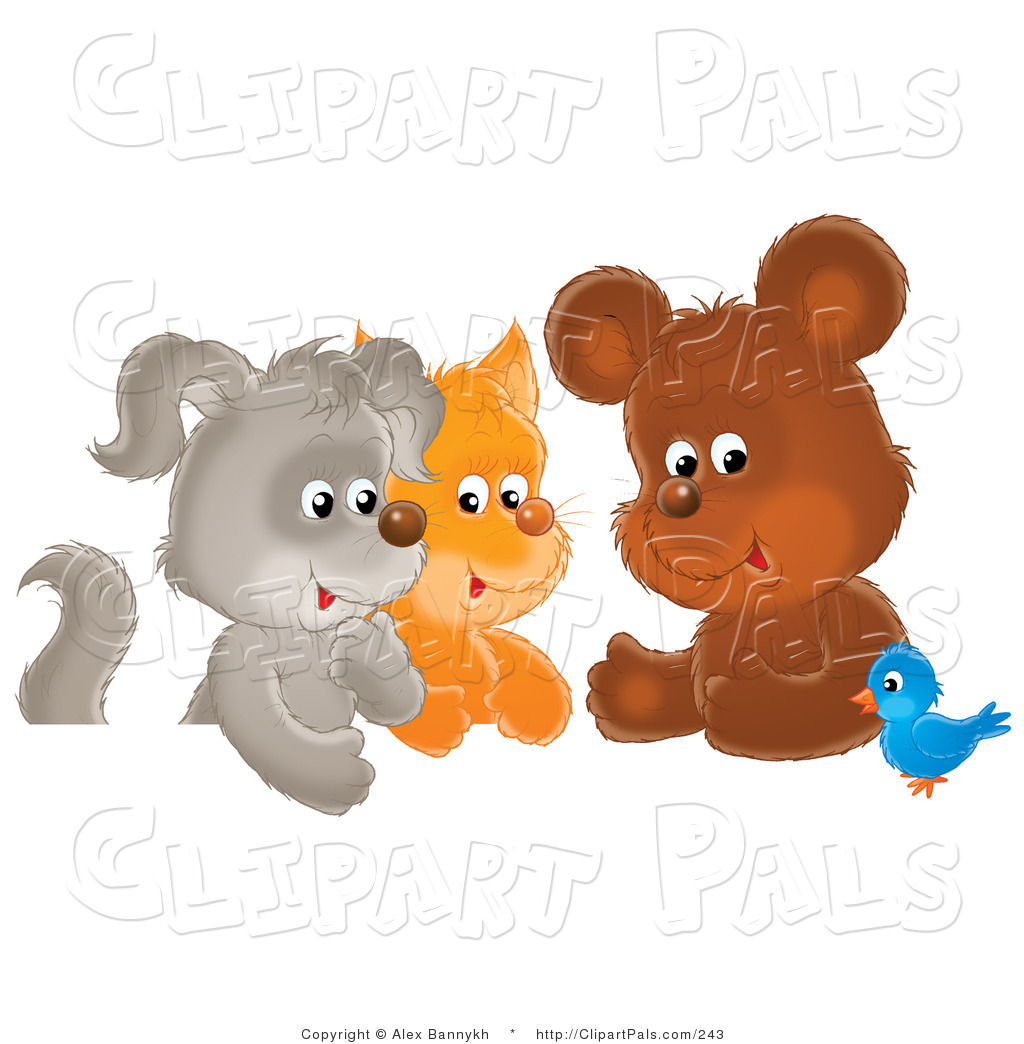 Pal Clipart Of A Cute Bluebird Chatting With A Cute Bear Kitten And