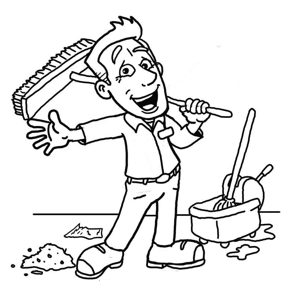Cleaning Black And White Clipart - Clipart Kid