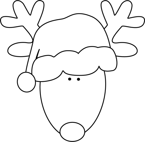 Clip Art Reindeer Clipart Black And White reindeer black and white clipart kid head santa hat white