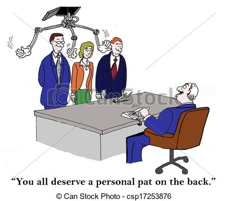 Stock Illustrations Of A Personal Pat On The Back From Boss   You All