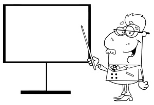Teacher Clipart Image   Black And White Teacher Pointing To A Board