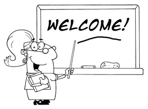 Teacher Clipart Image   Black And White Teacher With  Welcome  Written