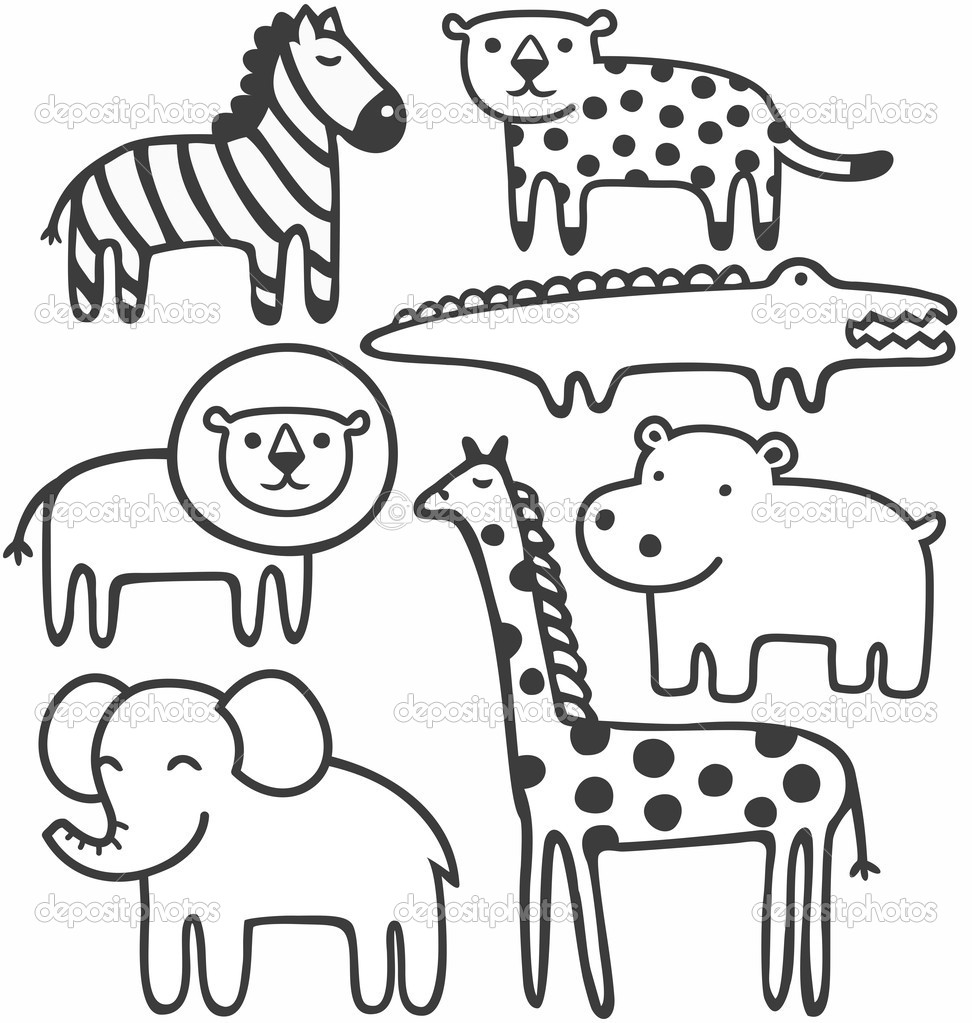 zoo animals black and white clipart clipart suggest Baby Monkey Clip Art Vintage Baby Animals Clip Art