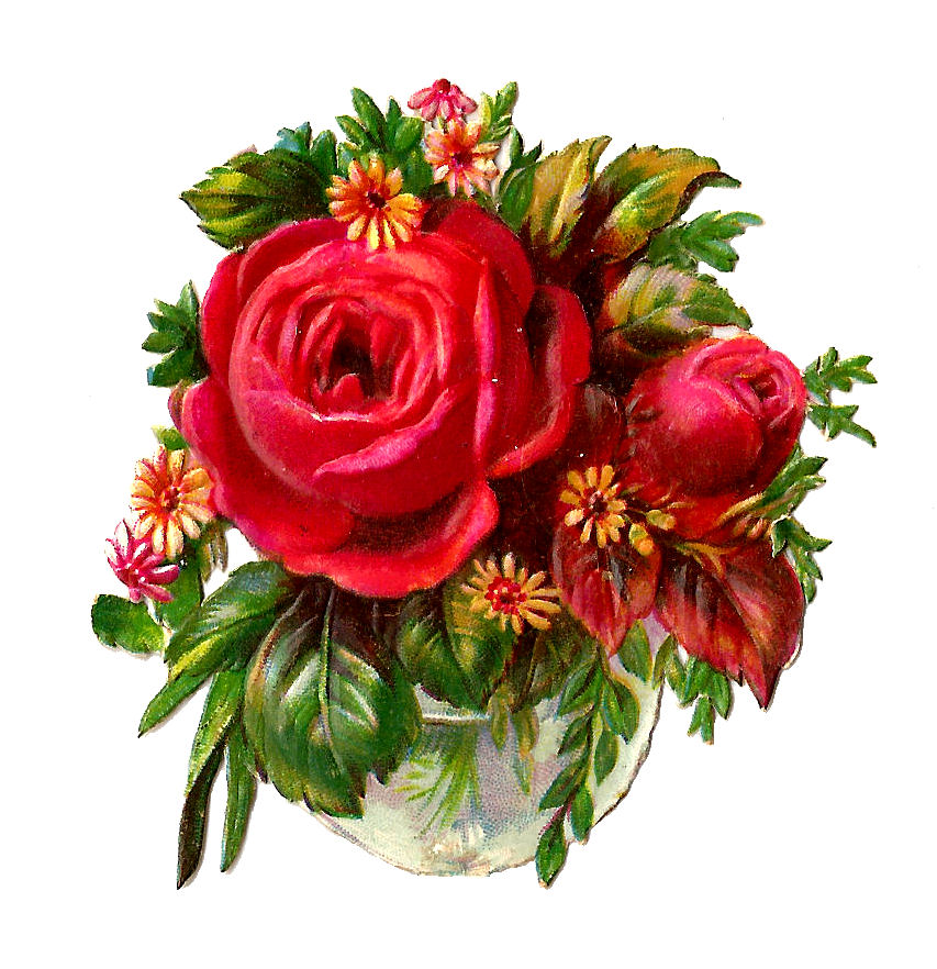 Antique Images  Free Flower Clip Art  Red Rose Bouquet Victorian Die