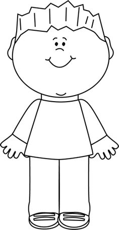 Art Black And White   Black And White Happy Boy Clip Art Image   Black