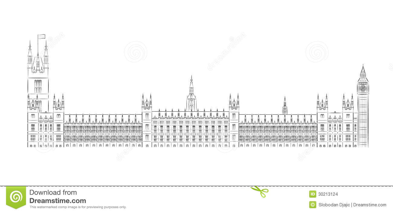 Big Ben And House Of Parliament Vector Illustration Black And White
