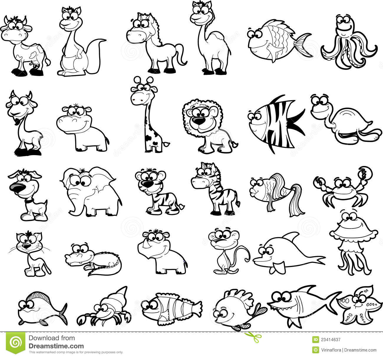 Big Set Of Black And White Cartoon Animalsvector Illustration Picture
