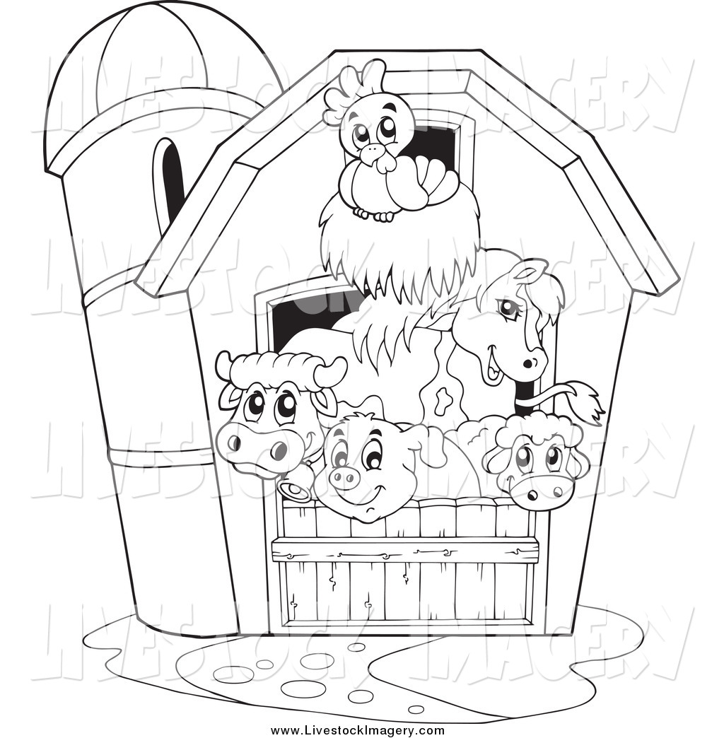 Agriculture Clipart Black And White Farm Animal Bla...