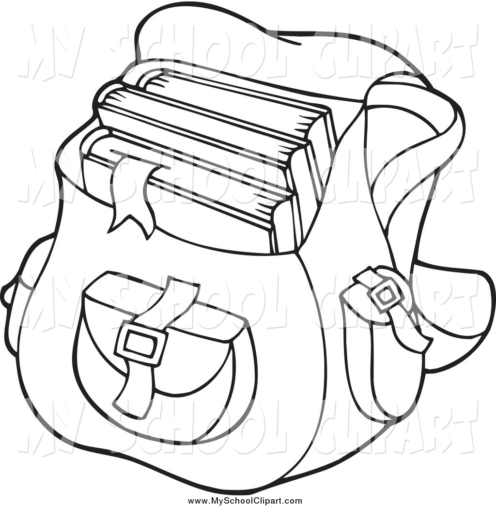 Black And White Backpack School Bag School Clip Art Visekart