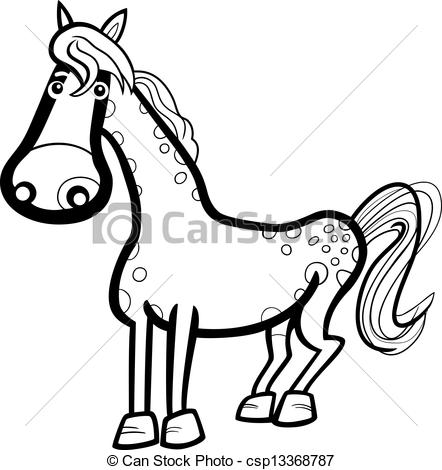 Black And White Cartoon Illustration Of Cute Horse Farm Animal For