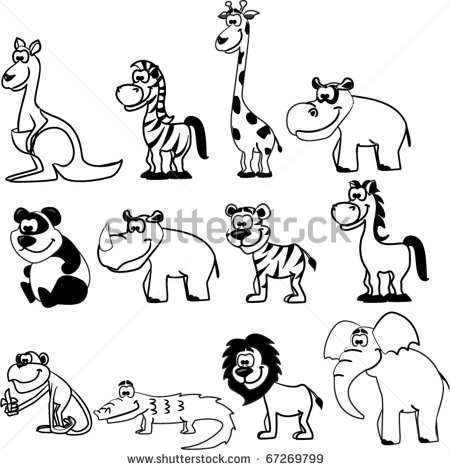 Zoo Animals Black And White Clipart - Clipart Kid