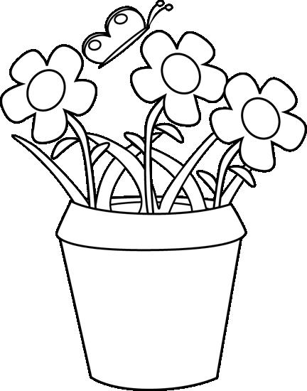 Black And White Flower Garden Clipart - Clipart Kid