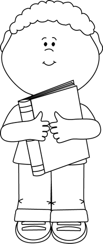 Black And White Little Boy Hugging A Book Clip Art Image   Black And