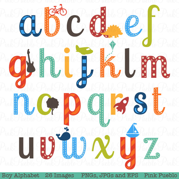 Clip Art Alphabet Clipart individual alphabet letters clipart kid boy vectors illustrations on creative market