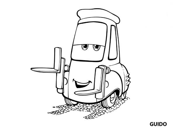 Cars   Awesome Guido In Disney Cars Coloring Page