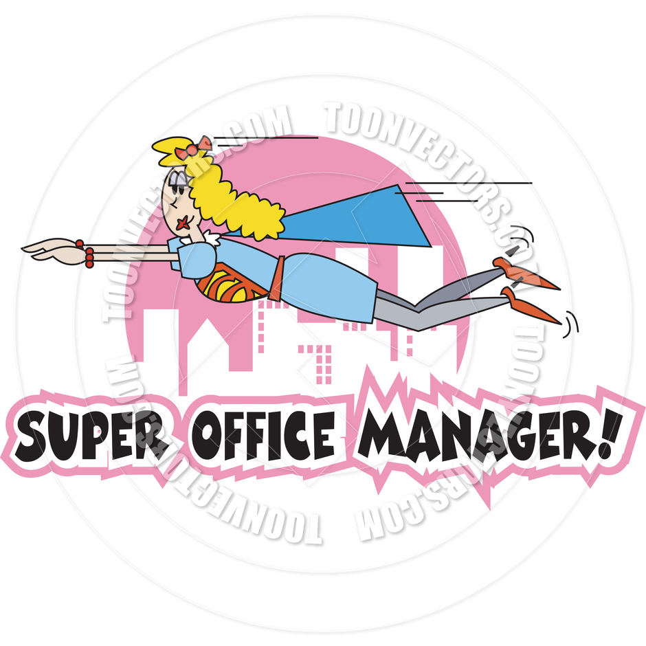 Cartoon Super Office Manager Vector Illustration By Clip Art Guy