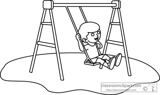 Children   Girl On A Playground Swing Set Outline   Classroom Clipart