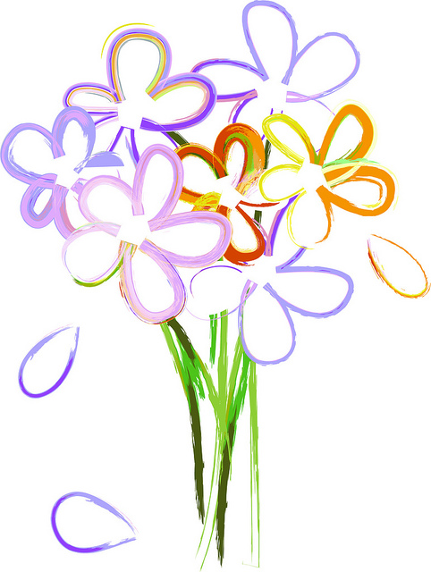 Clip Art Illustration Of A Simple Bouquet Of Watercolor Flowers