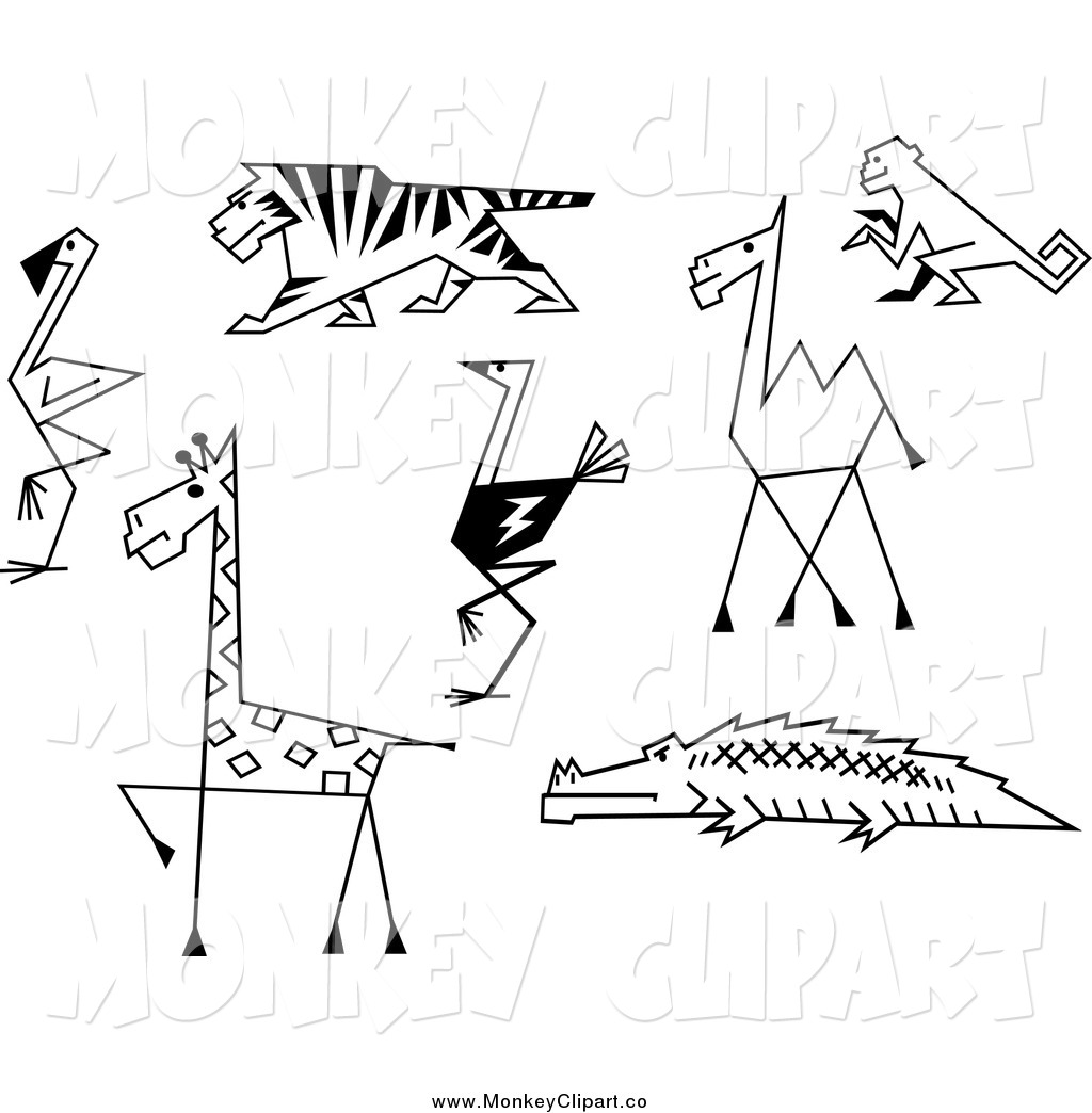 Clip Art Of A Black And White Sketched Zoo Animals And A Monkey By