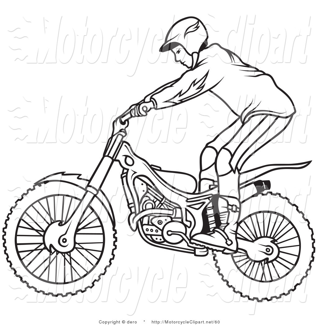 Clipart Of A Black And White Outline Of A Motorcycle Biker