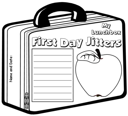 Creative Writing Worksheet For First Day Jitters Lunchbox Template