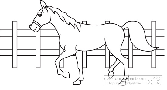 Farm  Animal Horse Black White Outline 964   Classroom Clipart