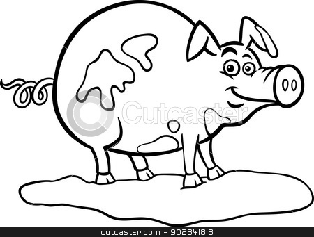 Farm Clipart Black And White 902341813 Farm Pig Cartoon For Coloring