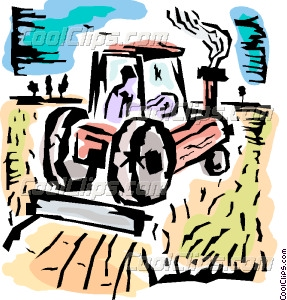 Farmer In His Tractor Planting Crops