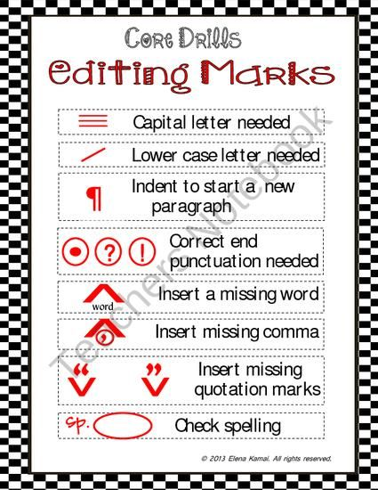 Free    Editing Marks Poster From How 2 Teacher On Teachersnotebook