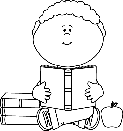Little Boy Reading A School Book Clip Art   Black And White Little Boy