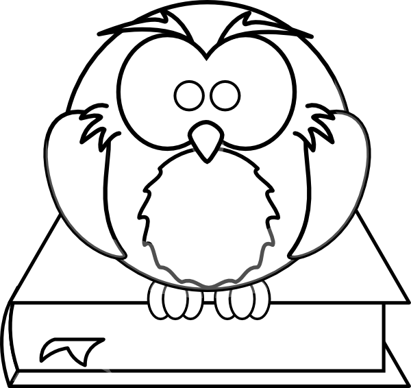 Owl On Book Black And White Clip Art At Clker Com   Vector Clip Art