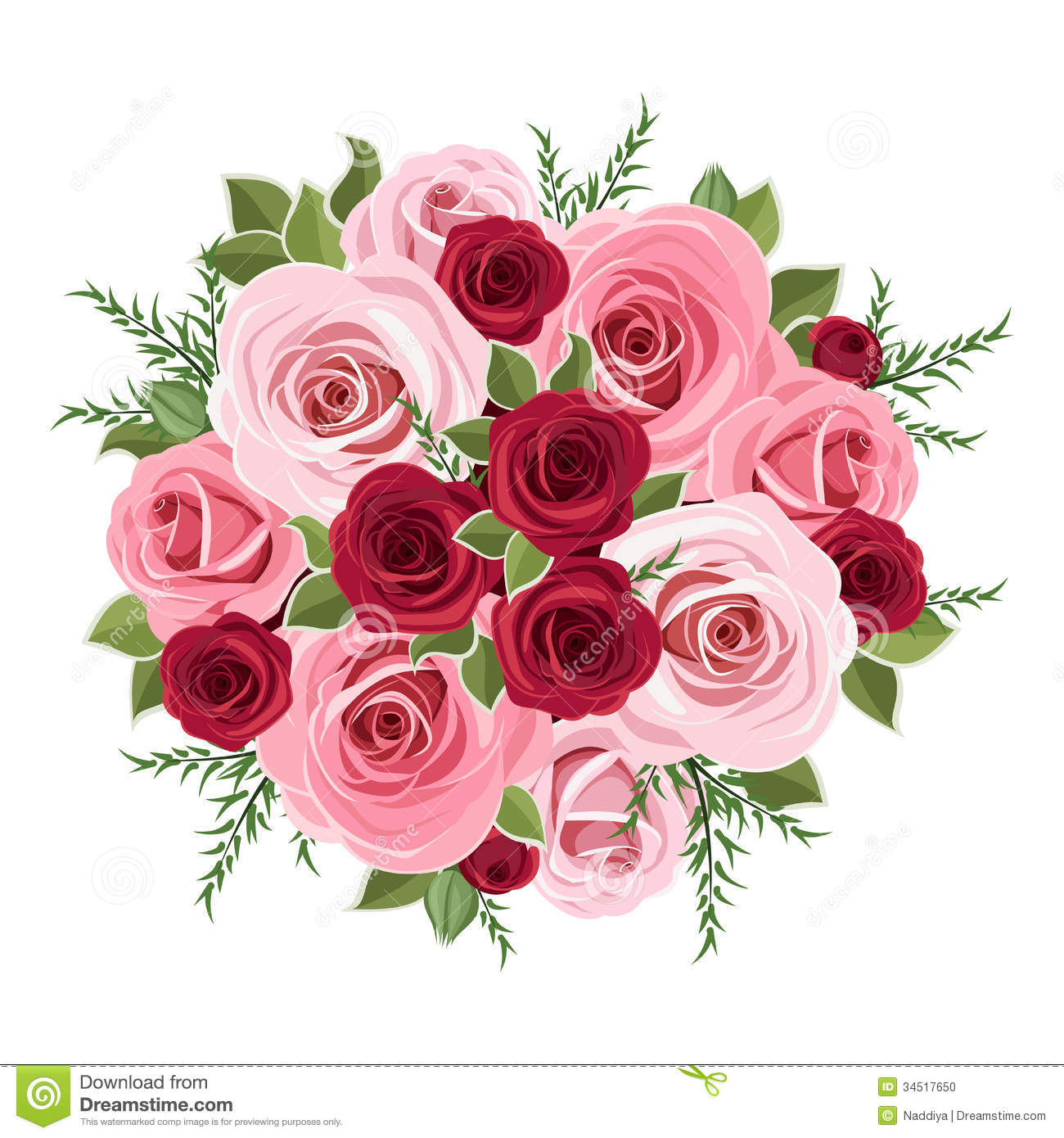 Pink Flowers Bouquet Clip Art Roses Bouquet  Stock Photo