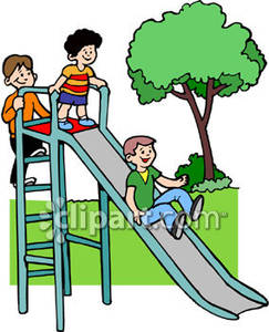 Playground Clipart Children Playing On A Slide At A Playground Royalty