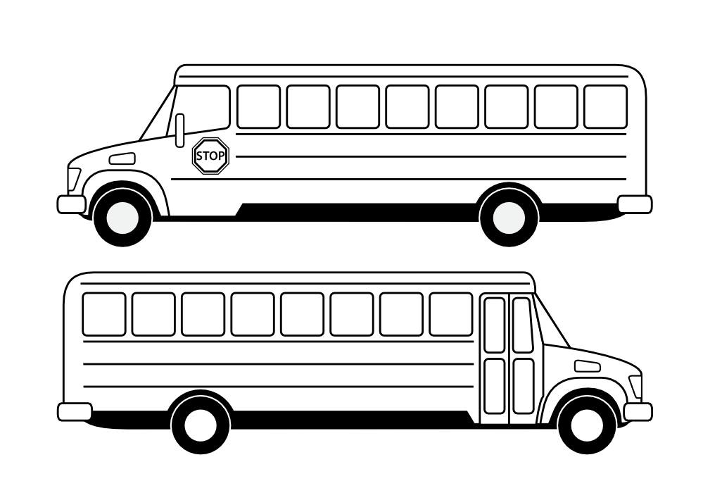 School Bus Clipart Black And White Deux Bus Scolaires Noirs Black